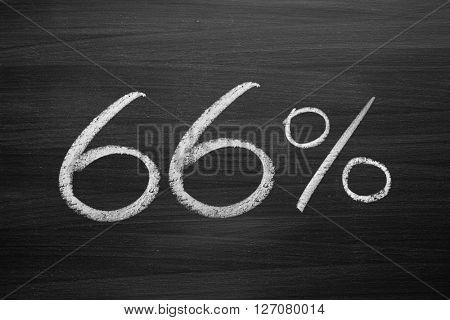 66 percent header written with a chalk on the blackboard
