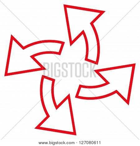 Centrifugal Arrows vector icon. Style is outline icon symbol, red color, white background.