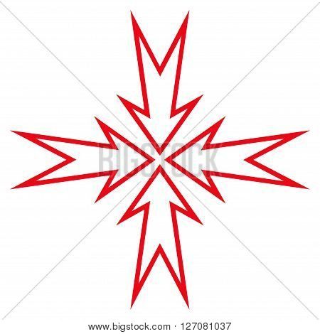 Compress Arrows vector icon. Style is contour icon symbol, red color, white background.