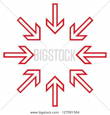 Compress Arrows vector icon. Style is thin line icon symbol, red color, white background.
