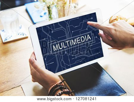 Multimedia Entertainment Connecting Content Concept