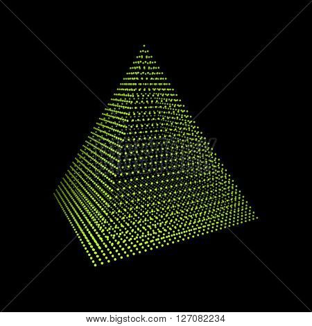 Pyramid. Regular Tetrahedron. Platonic Solid. Regular, Convex Polyhedron. 3D Technology Style.