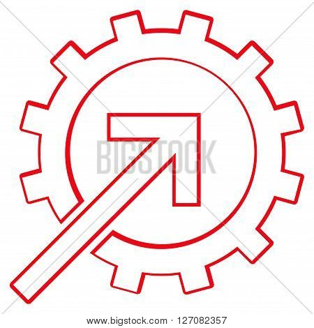 Integration Arrow vector icon. Style is outline icon symbol, red color, white background.