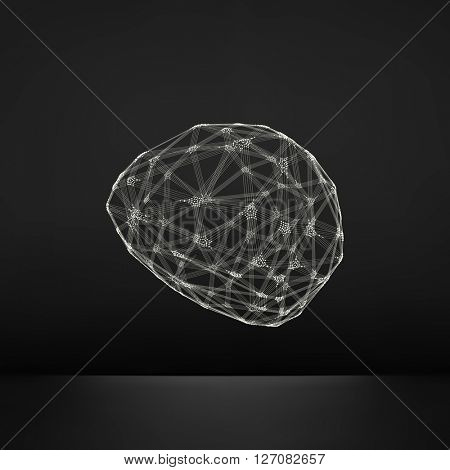 Wireframe Object with Lines and Dots. Abstract 3D Connection Structure. Connection Grid.