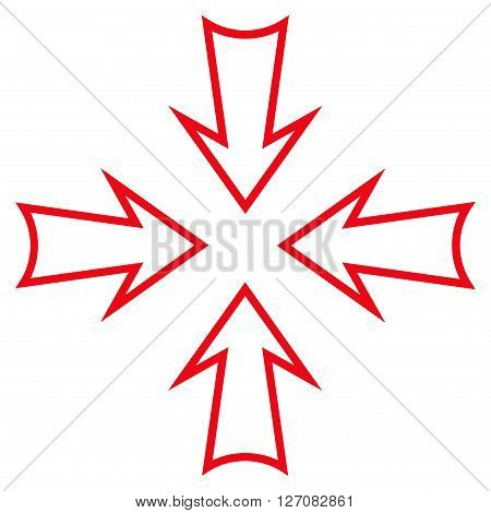 Minimize Arrows vector icon. Style is stroke icon symbol, red color, white background.