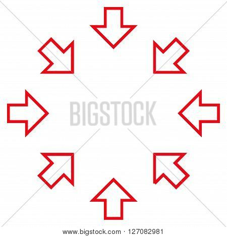 Pressure Arrows vector icon. Style is contour icon symbol, red color, white background.