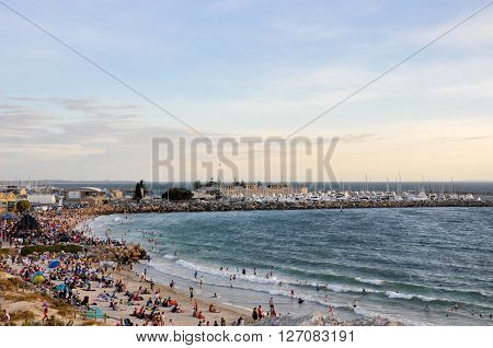 FREMANTLE,WA,AUSTRALIA: JANUARY 26,2016: Bather's Beach crowds at dusk on Australia Day in Fremantle, Western Australia.