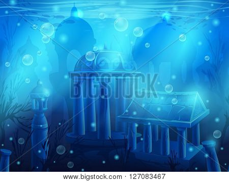 Atlantis. Seamless submerged underwater city the ancient ruins of eastern. For newspapers magazines web design websites printing video or web game.