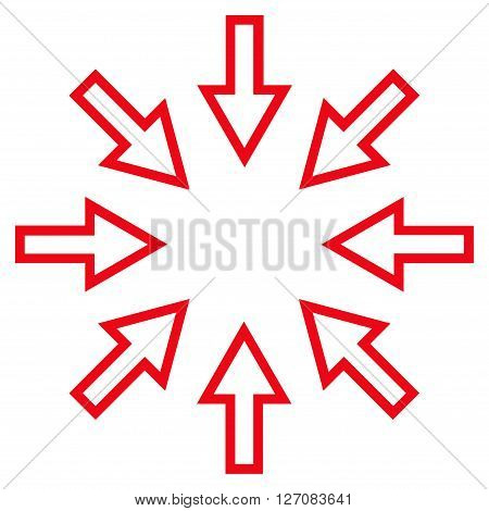 Pressure Arrows vector icon. Style is thin line icon symbol, red color, white background.