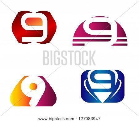 Number logo design.Number five logo.Logo 9 vector template.