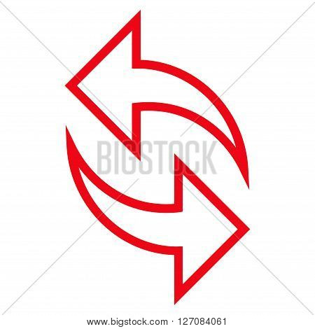 Refresh Arrows vector icon. Style is thin line icon symbol, red color, white background.