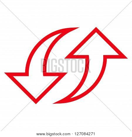 Replace Arrows vector icon. Style is outline icon symbol, red color, white background.