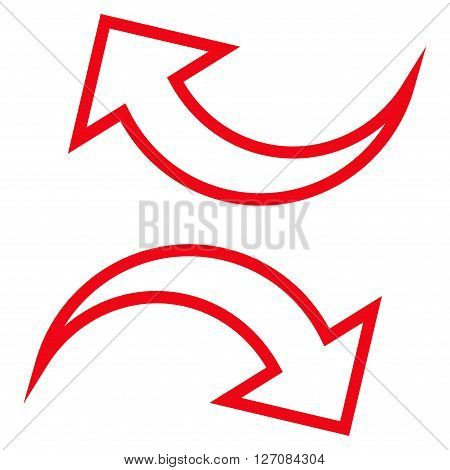 Replace Arrows vector icon. Style is thin line icon symbol, red color, white background.