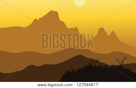 Vector scenery of noon at mountains with yellow backgrounds
