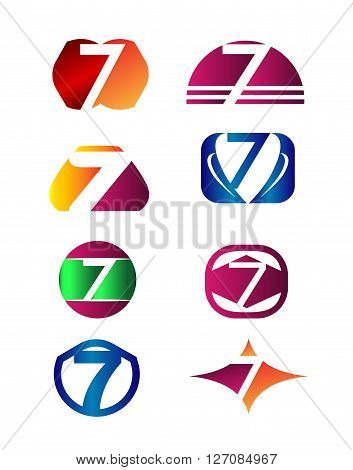 Number seven 7 logo icon template elements set