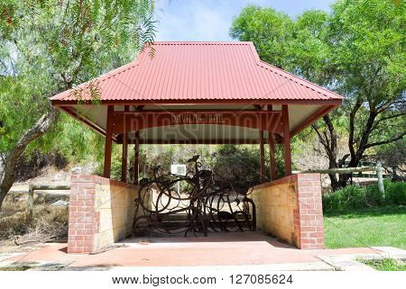 Davilak walking trail shelter entrance with metal design in outdoor Manning Park setting in Hamilton Hill, Western Australia.