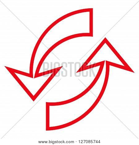 Update Arrows vector icon. Style is outline icon symbol, red color, white background.