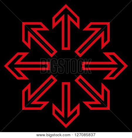Explode Arrows vector icon. Style is outline icon symbol, red color, black background.