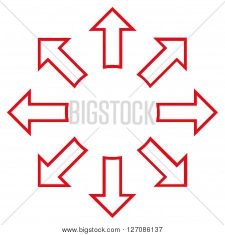 Explode Arrows vector icon. Style is thin line icon symbol, red color, white background.