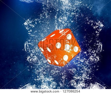 Dice cubes under water