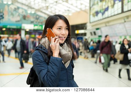 Woman talk to cellphone