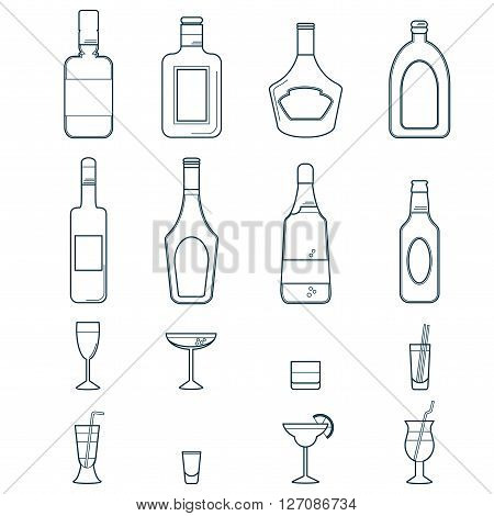 Alcohol flat Icons Set with Bottles and Cocktail Glasses Isolated Vector Illustration/ Alcohol Drinks and Beverages Icon Set
