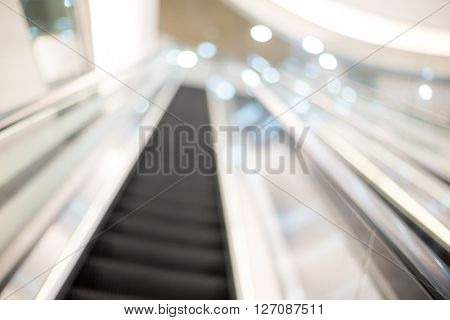 Blur view of Shopping mall center escalators