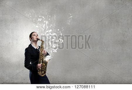 Woman saxophonist. Concept image