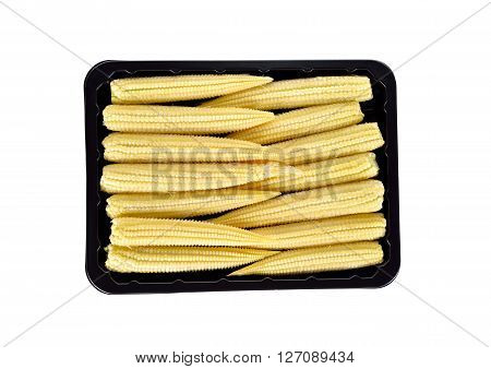 baby corn in back tray isolated on white background