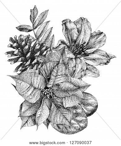 Composition of different flowers and plants drawn by hand with black ink. Graphic drawing pointillism technique. Floral bouquet, ikebana