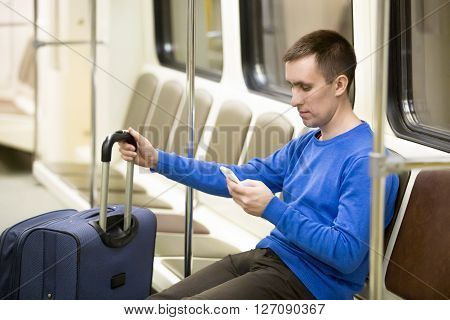 Young Traveler In Subway Train