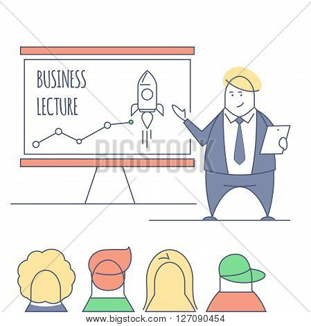 Line art businessman conducting business lecture, standing in front of the board with the inscriptions. Doodle stylized thin line illustration. Flat color lined concept. Business vector training.