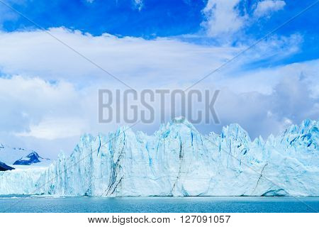 Blue ice mountain of Perito Moreno glacier in Argentinian Patagonia Argentina