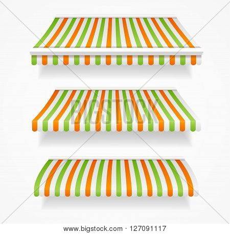 Striped Colorful Awnings Set for Trade. Vector illustration