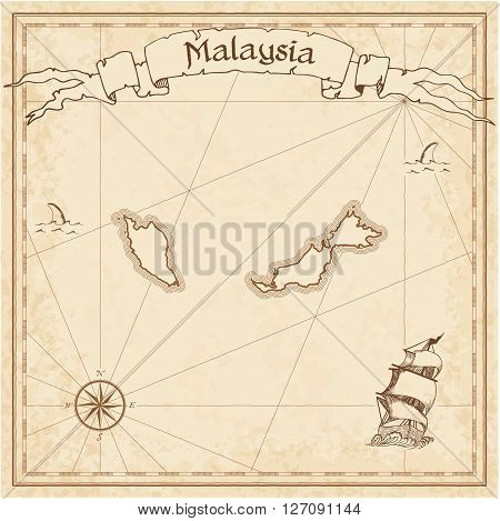 Malaysia Old Treasure Map. Sepia Engraved Template Of Pirate Map. Stylized Pirate Map On Vintage Pap
