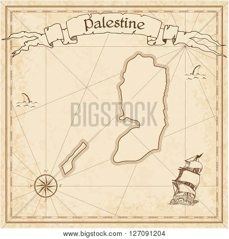 Palestine Old Treasure Map. Sepia Engraved Template Of Pirate Map. Stylized Pirate Map On Vintage Pa