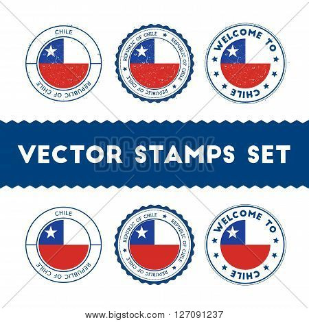 Chilean Flag Rubber Stamps Set. National Flags Grunge Stamps. Country Round Badges Collection.