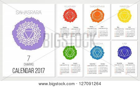 Calendar 2017 design template with 7 chakras set of 12 months vector isolated on white background the symbol of Hinduism Buddhism. Hand painted texture. For design associated with yoga and India.