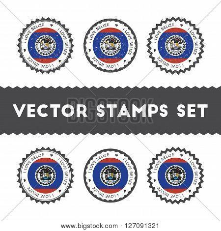 I Love Belize Vector Stamps Set. Retro Patriotic Country Flag Badges. National Flags Vintage Round S