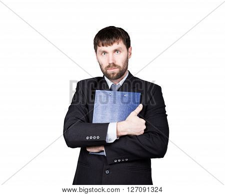 gestures distrust lies. body language. man in business suit. closed position. emphasis thumbs. crossed arms, hugging folder with papers. isolated on white background. concept of true or false.
