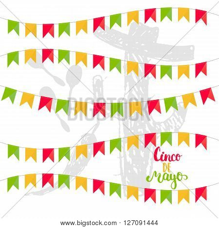 Cinco de Mayo mexican greeting card. Vector illustration with colorful flags hand drawn sketch jalapeno cactus sombrero and maracas.