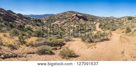 Panorama of Mojave desert hills and rock formations east of Santa Clarita California.