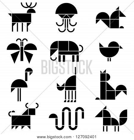 vector black and white animals pictograms isolated on white