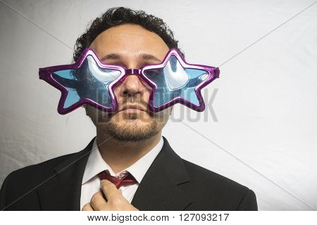Celebrity, businessman with glasses stars, crazy and funny achiever