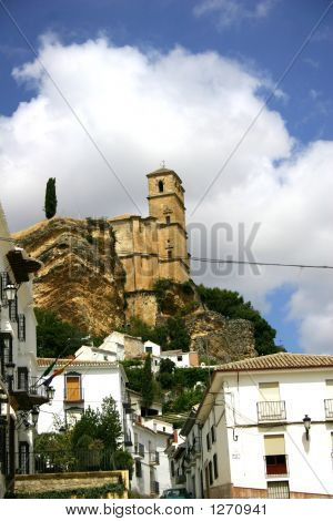 Church On A Hill In The Town Of Montifrio Andalusia Spain.