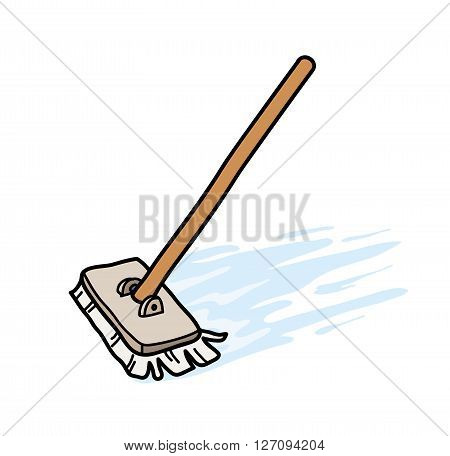 Mopping the Floor, a hand drawn vector illustration of a mop, mopping the floor.