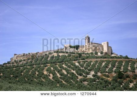 Monastery And Small Village On A Hill In Provincial Andalusian Towns, Spain