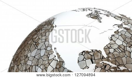 North America On Translucent Earth