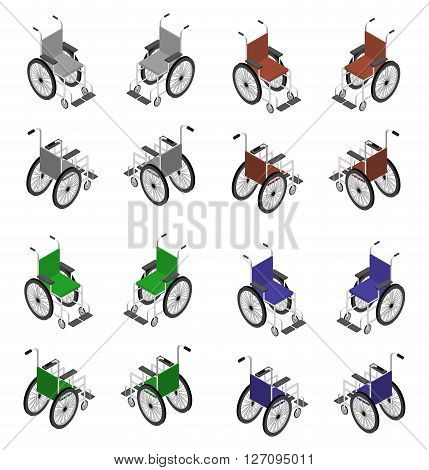 Wheelchair detailed isometric icon vector graphic illustration. Big set different colors