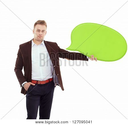 man holding white blank speech bubble with space for text.
